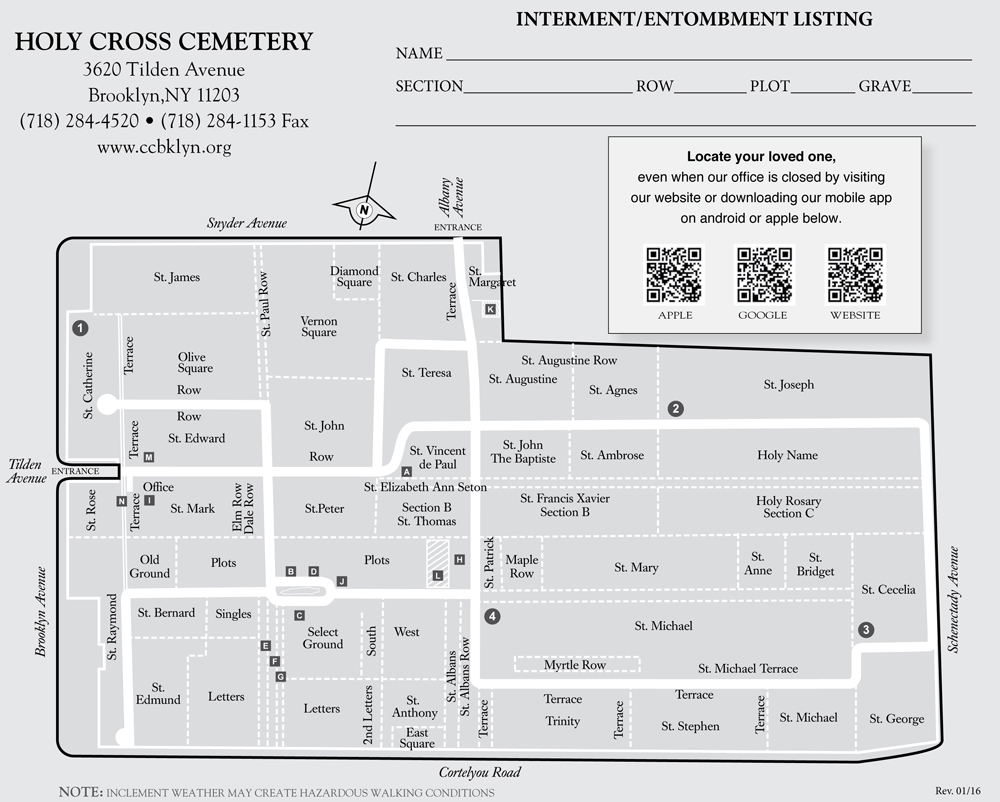 Catholic Cemeteries Brooklyn - Official Site » Holy Cross – Map