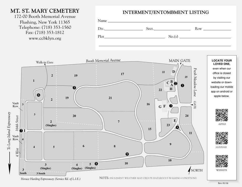 Catholic Cemeteries Brooklyn Official Site Mount St Mary Map